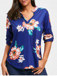 V Neck Floral High Low Tunic T-shirt -