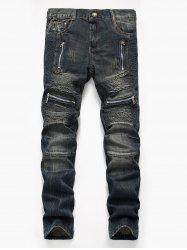 Zip Design Straight Leg Biker Jeans -