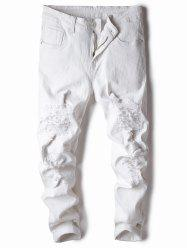 Classical Straight Leg Ripped Jeans -