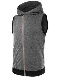 Two Tone Asymmetrical Zip Up Hooded Vest -