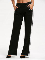Color Trim Casual Straight Pants with Pocket -