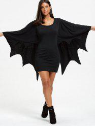 Halloween Long Sleeve Bat Wings Bodycon Dress -