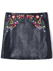 PU Leather Floral Embroidered Mini Skirt -