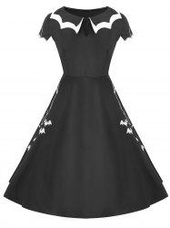 Halloween Net Bat Vintage Plus Size Dress -