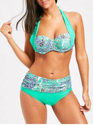Halter Print High Waist Bikini Set -