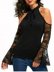 Bowknot Lace Flare Sleeve Cold Shoulder Top -
