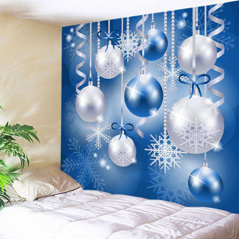 Christmas Balls Snowflake Print Tapestry Wall Hanging Art DecorationHOME<br><br>Size: W79 INCH * L59 INCH; Color: BLUE; Style: Festival; Theme: Christmas; Material: Polyester; Feature: Washable; Shape/Pattern: Ball; Weight: 0.3000kg; Package Contents: 1 x Tapestry;