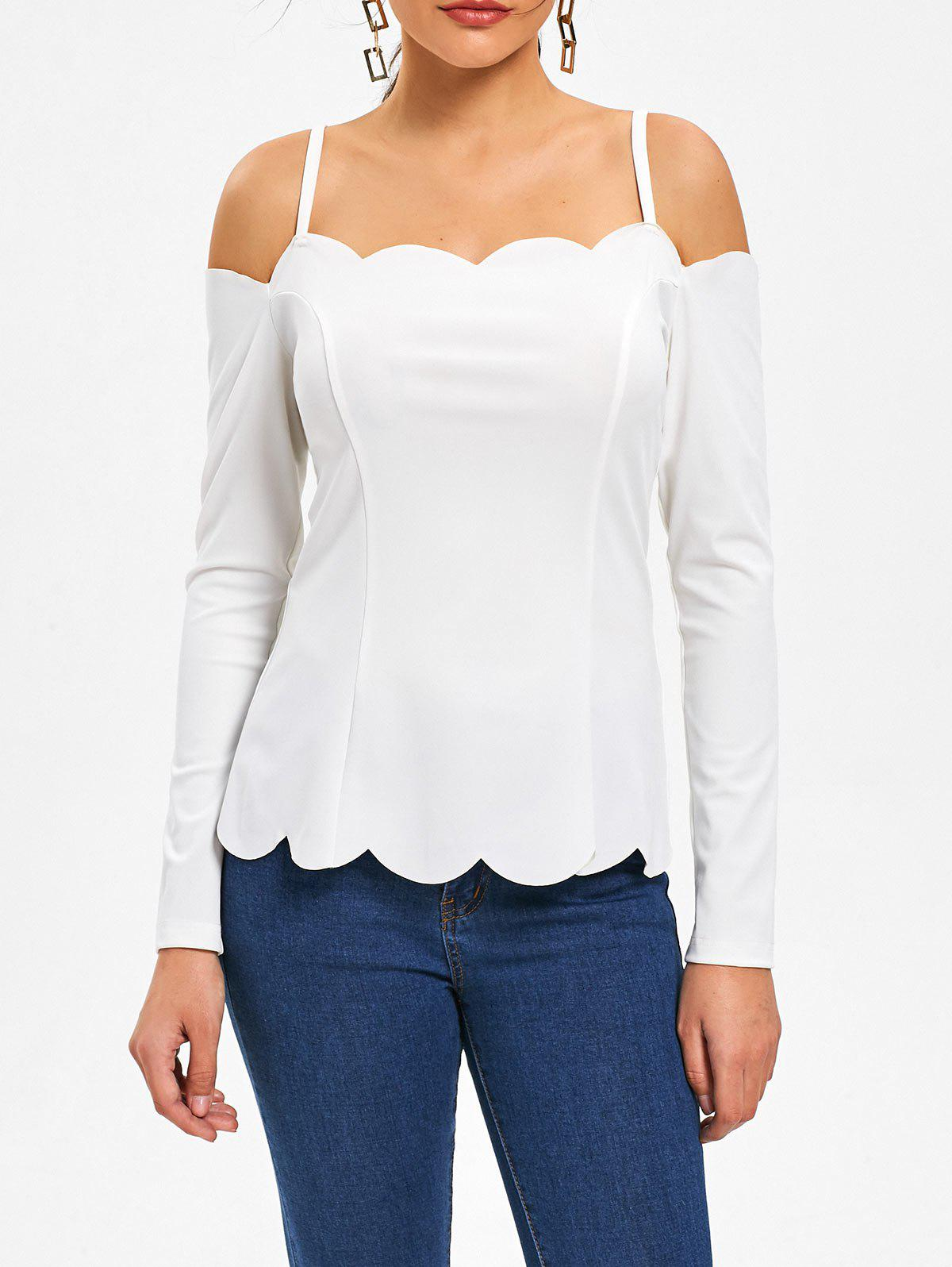 Scalloped Long Sleeve Spaghetti Strap TopWOMEN<br><br>Size: 2XL; Color: WHITE; Material: Polyester,Spandex; Shirt Length: Regular; Sleeve Length: Full; Collar: Spaghetti Strap; Style: Fashion; Embellishment: Scalloped; Pattern Type: Solid Color; Season: Fall,Spring; Weight: 0.2080kg; Package Contents: 1 x Top;