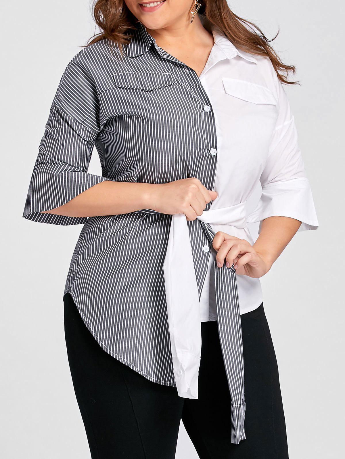 Plus Size Contrast Striped Shirt with BeltWOMEN<br><br>Size: 5XL; Color: GREY AND WHITE; Material: Cotton Blends,Polyester; Shirt Length: Regular; Sleeve Length: Full; Collar: Shirt Collar; Style: Fashion; Season: Fall,Spring; Embellishment: Button; Pattern Type: Striped; Weight: 0.3000kg; Package Contents: 1 x Shirt 1 x Belt;