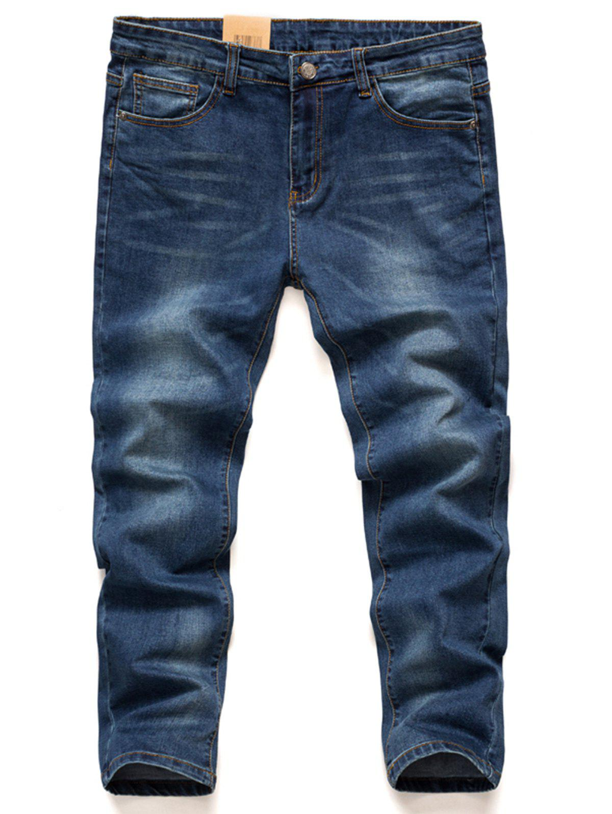 Plus Size Stretchy Bleach Wash Harem JeansMEN<br><br>Size: 48; Color: BLUE; Style: Fashion; Pant Style: Harem Pants; Pant Length: Long Pants; Material: Cotton,Jean,Polyester; Fit Type: Regular; Front Style: Flat; Closure Type: Zipper Fly; Waist Type: Low; With Belt: No; Weight: 0.8000kg; Package Contents: 1 x Jeans;