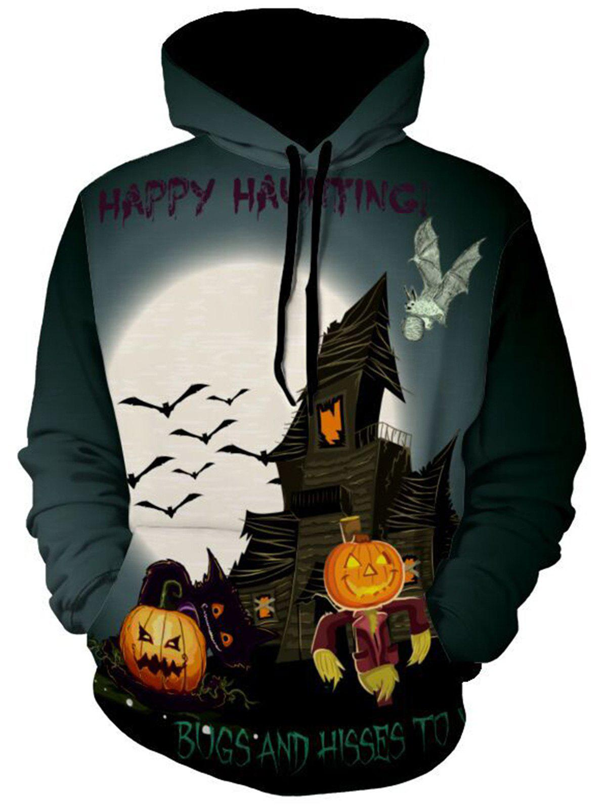 Affordable Pumpkin and Bat Print Halloween Hoodie