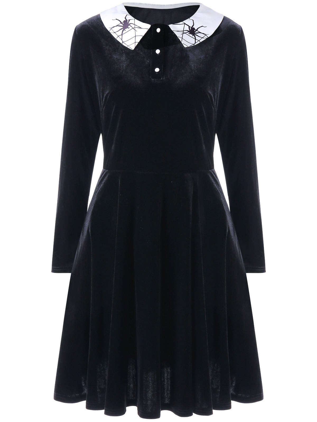 Plus Size Spider Print Long Sleeve Velvet DressWOMEN<br><br>Size: 4XL; Color: BLACK; Style: Brief; Material: Polyester; Silhouette: A-Line; Dresses Length: Knee-Length; Neckline: Peter Pan Collar; Sleeve Length: Long Sleeves; Embellishment: Button; Pattern Type: Insect; With Belt: No; Season: Fall,Spring; Weight: 0.6100kg; Package Contents: 1 x Dress;