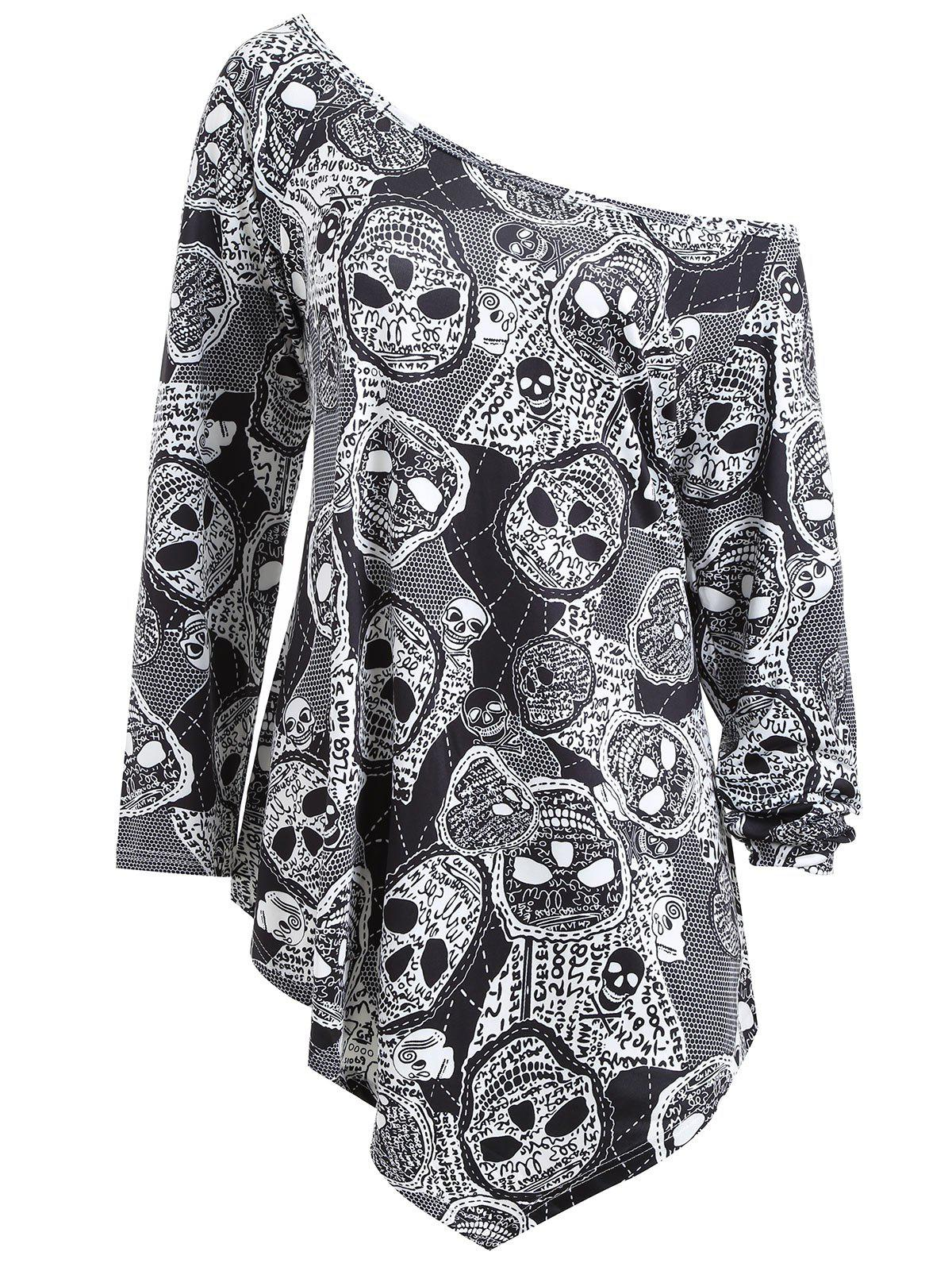 Sale Plus Size Asymmetrical Halloween Skulls Print T-shirt