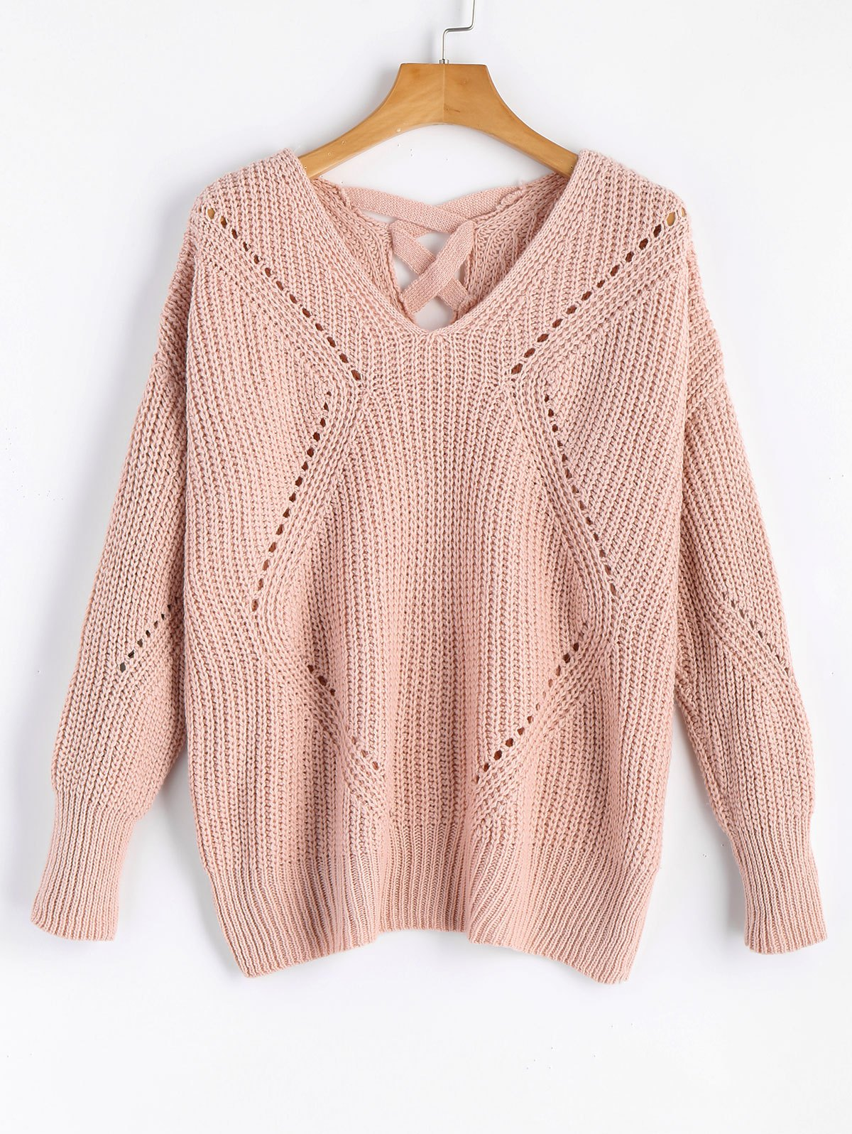 V Neck Criss Cross Sheer SweaterWOMEN<br><br>Size: ONE SIZE; Color: PINK; Type: Pullovers; Material: Acrylic,Cotton,Polyester; Sleeve Length: Full; Collar: V-Neck; Style: Fashion; Pattern Type: Solid; Weight: 0.5050kg; Package Contents: 1 x Sweater;