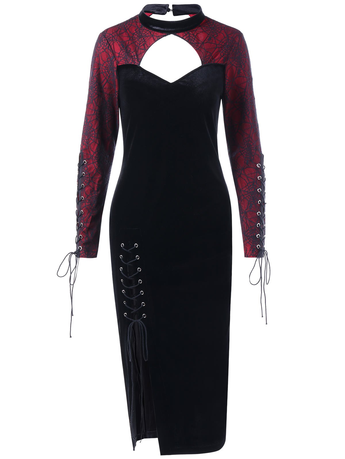 Halloween Spider Lace Inset Velvet Slit DressWOMEN<br><br>Size: XL; Color: BLACK; Style: Vintage; Material: Polyester; Silhouette: Sheath; Dresses Length: Mid-Calf; Neckline: Mock Neck; Sleeve Length: Long Sleeves; Embellishment: Criss-Cross,Lace; Pattern Type: Others; With Belt: No; Season: Fall,Spring; Weight: 0.4000kg; Package Contents: 1 x Dress; Occasion: Casual ,Club,Night Out;