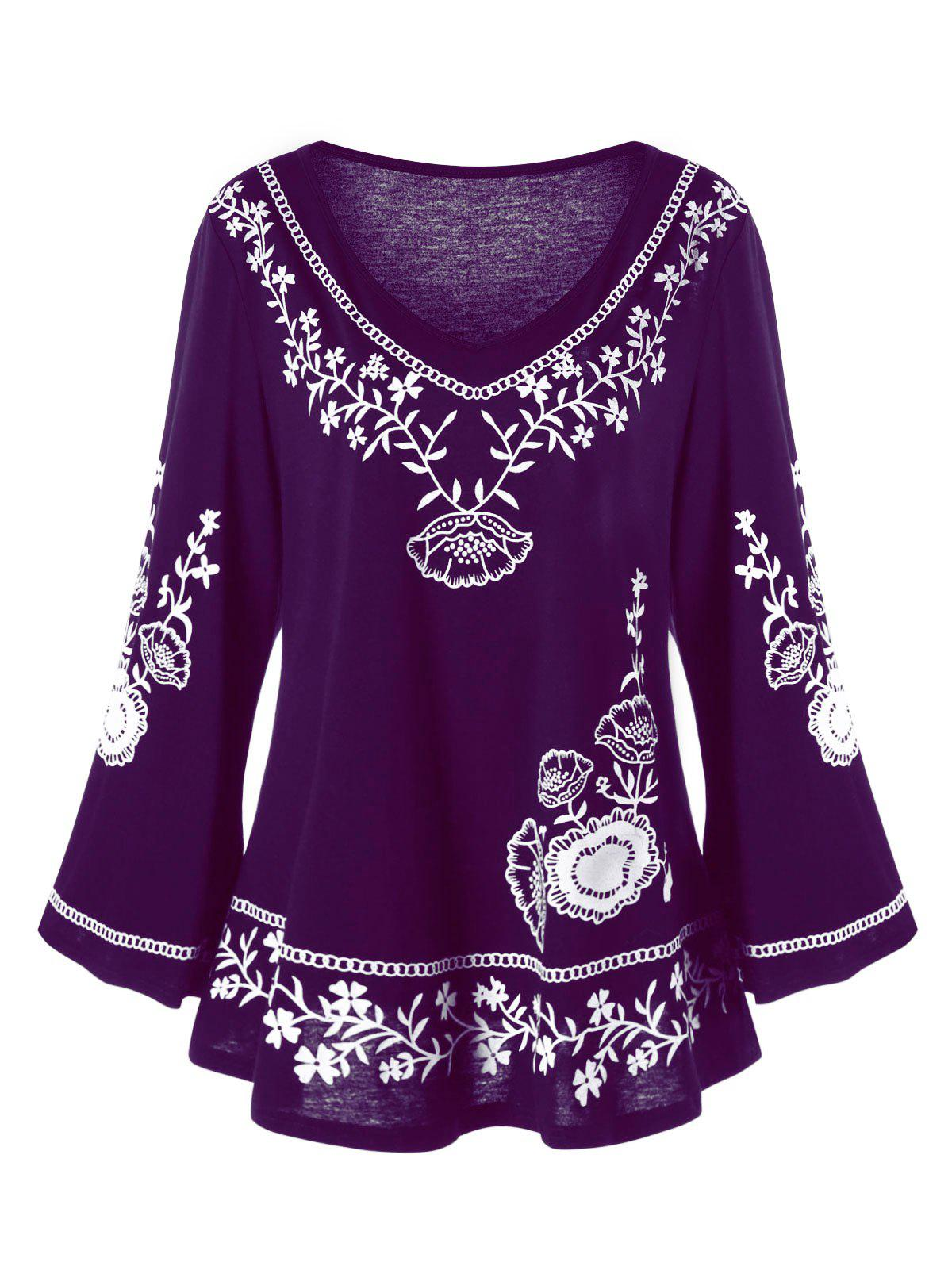 Plus Size Monochrome Floral Bell Sleeve TopWOMEN<br><br>Size: 4XL; Color: PURPLE; Material: Polyester,Spandex; Shirt Length: Long; Sleeve Length: Full; Collar: V-Neck; Style: Casual; Season: Fall,Spring; Pattern Type: Floral; Weight: 0.3100kg; Package Contents: 1 x Top;