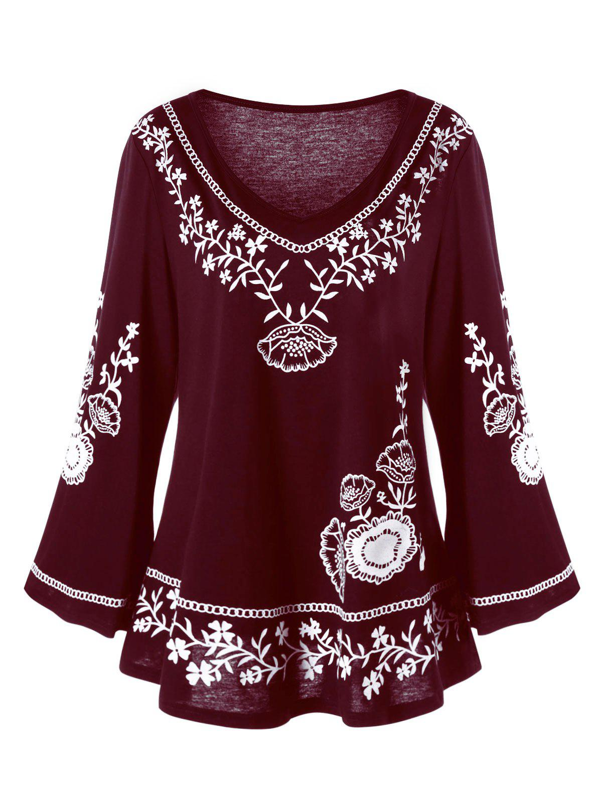 Plus Size Monochrome Floral Bell Sleeve TopWOMEN<br><br>Size: 3XL; Color: DARK RED; Material: Polyester,Spandex; Shirt Length: Long; Sleeve Length: Full; Collar: V-Neck; Style: Casual; Season: Fall,Spring; Pattern Type: Floral; Weight: 0.3100kg; Package Contents: 1 x Top;