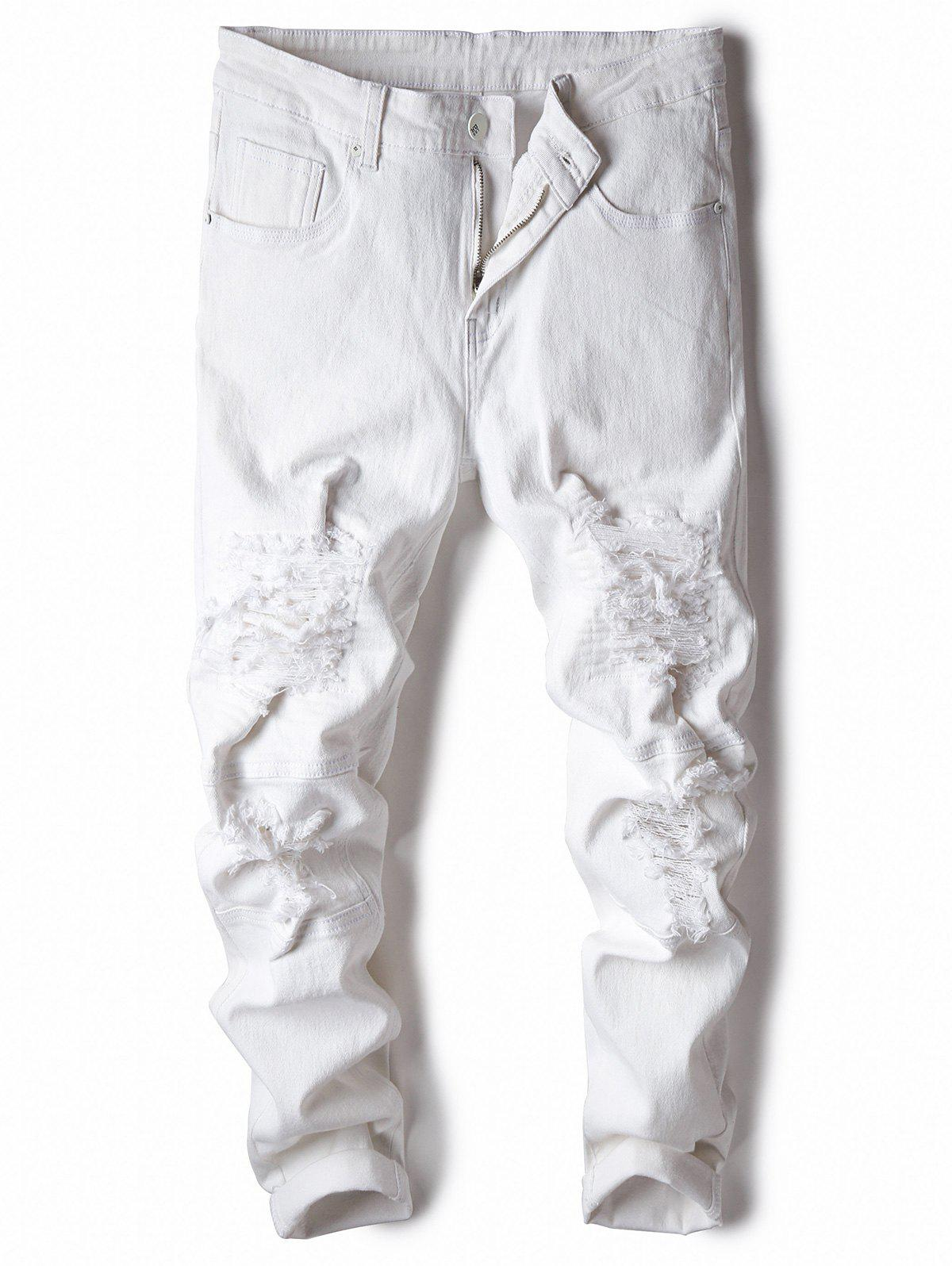 Sale Classical Straight Leg Ripped Jeans
