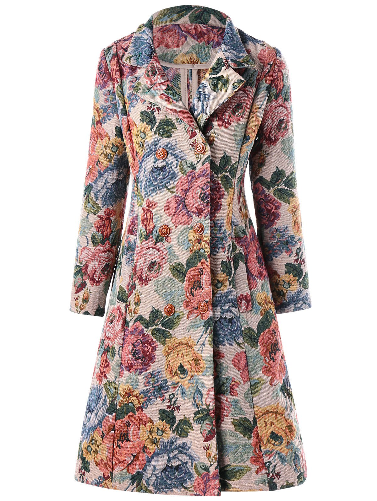 New A-line Double-breasted Floral Trench Coat