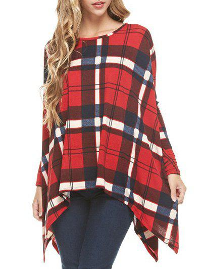Online Long Sleeve Asymmetrical Checked T-shirt