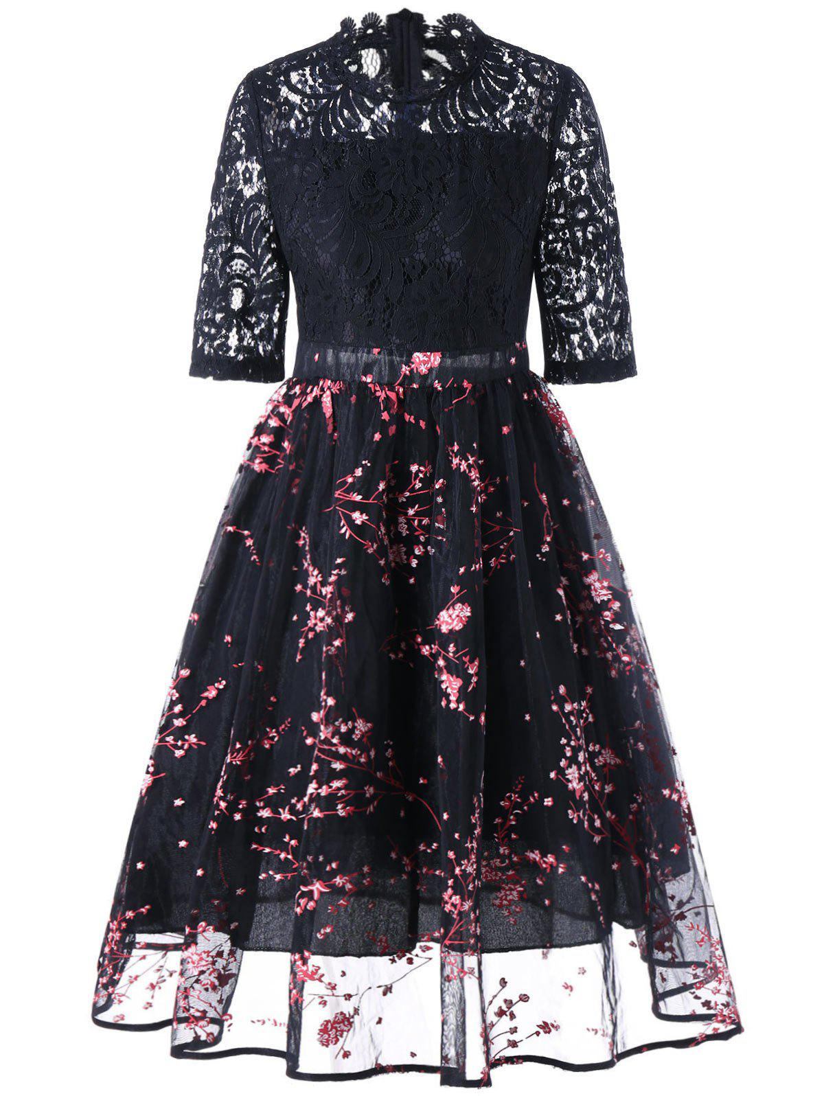 Outfits Lace Insert Floral Print Midi Dress