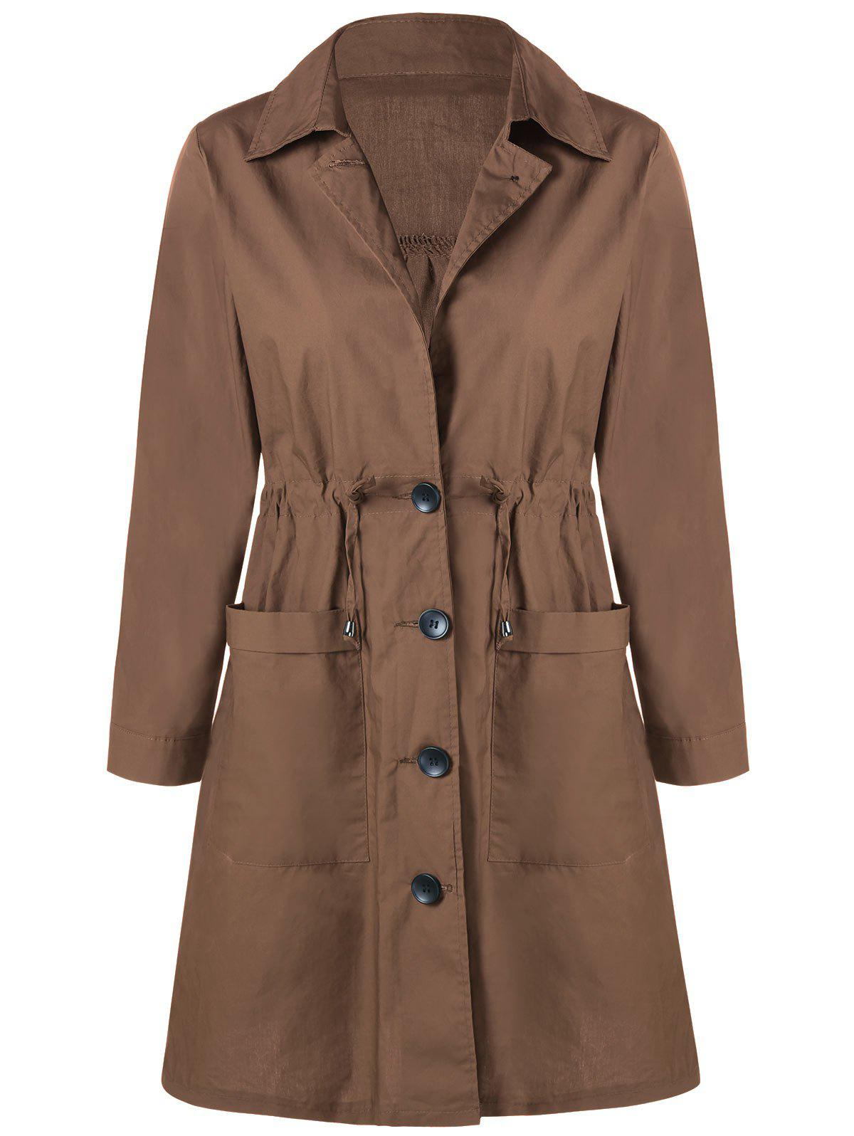 Plus Size Drawstring Front Pocket Single Breasted CoatWOMEN<br><br>Size: 5XL; Color: KHAKI; Clothes Type: Others; Material: Polyester,Spandex; Type: Wide-waisted; Shirt Length: Long; Sleeve Length: Full; Collar: Turn-down Collar; Closure Type: Single Breasted; Pattern Type: Solid; Embellishment: Pockets; Style: Fashion; Season: Fall,Spring; Weight: 0.6000kg; Package Contents: 1 x Coat;