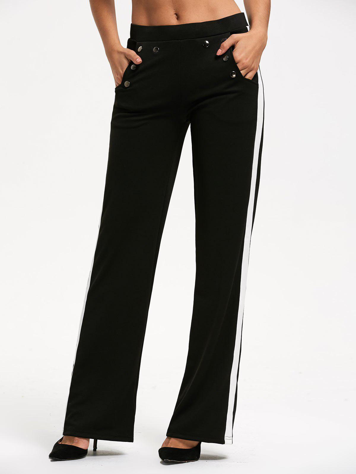 Discount Color Trim Casual Straight Pants with Pocket