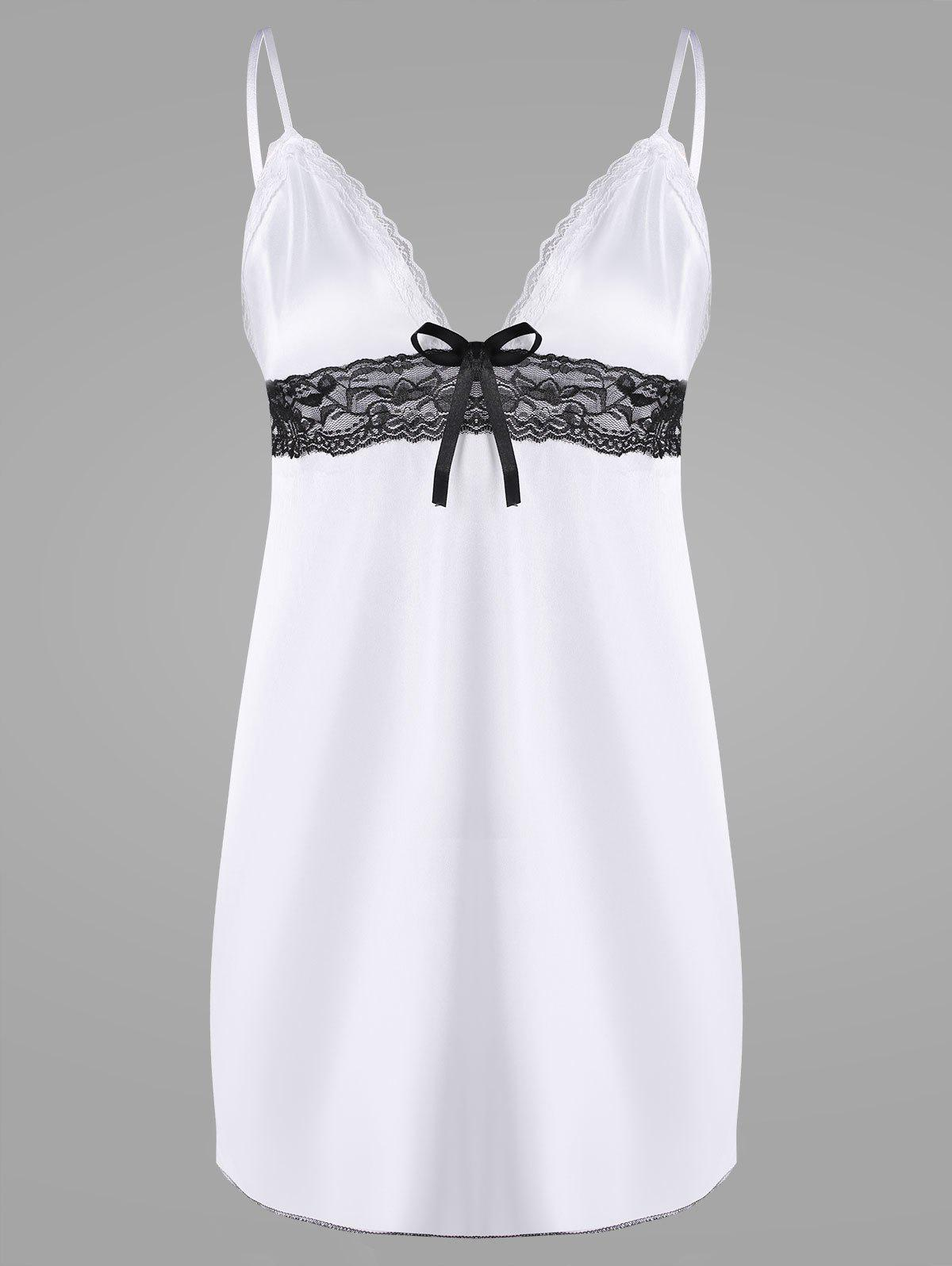 Slip Lace Trim Plunge BabydollWOMEN<br><br>Size: ONE SIZE; Color: WHITE; Material: Polyester; Pattern Type: Others; Embellishment: Lace; Weight: 0.1200kg; Package Contents: 1 x Babydoll  1 x T Back;