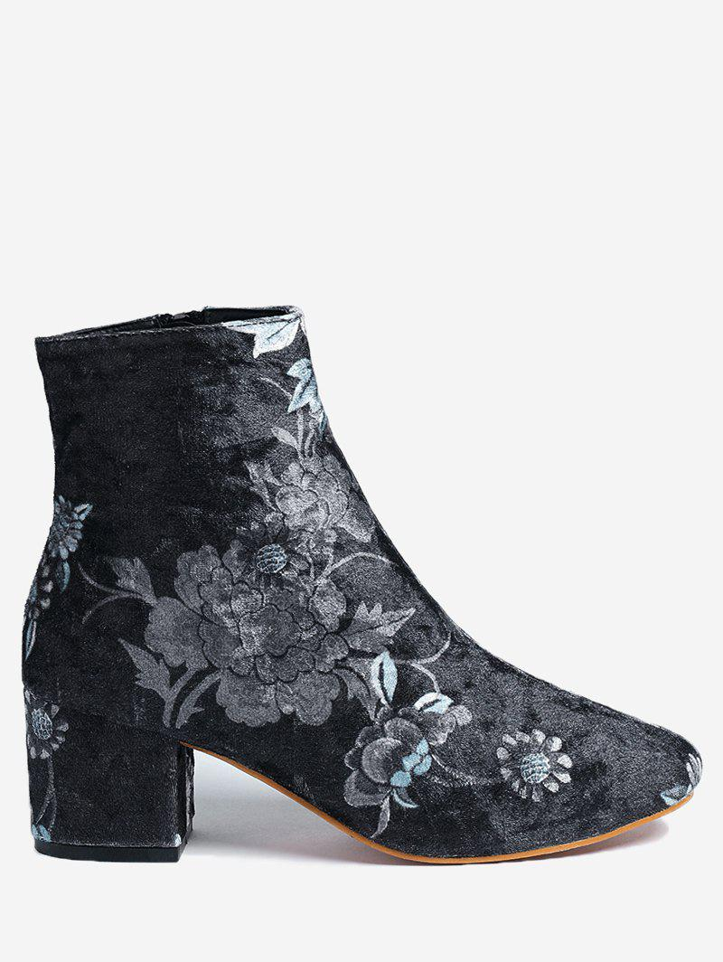 Latest Ankle Chunky Heel Floral Boots