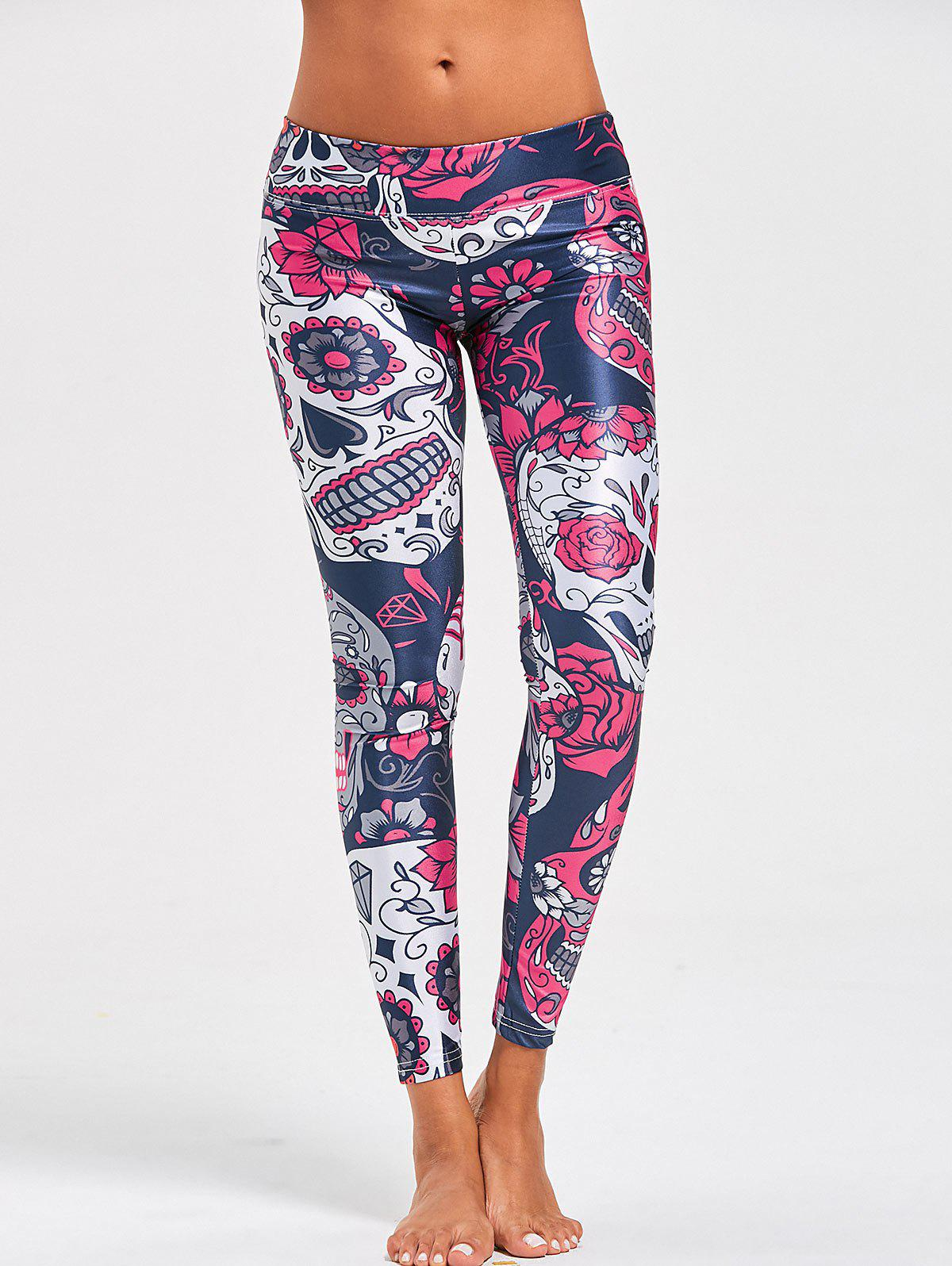 High Waist Halloween Floral Skull Print LeggingsWOMEN<br><br>Size: M; Color: COLORMIX; Style: Casual; Material: Polyester; Waist Type: High; Pattern Type: Floral,Skull; Weight: 0.2200kg; Package Contents: 1 x Leggings;