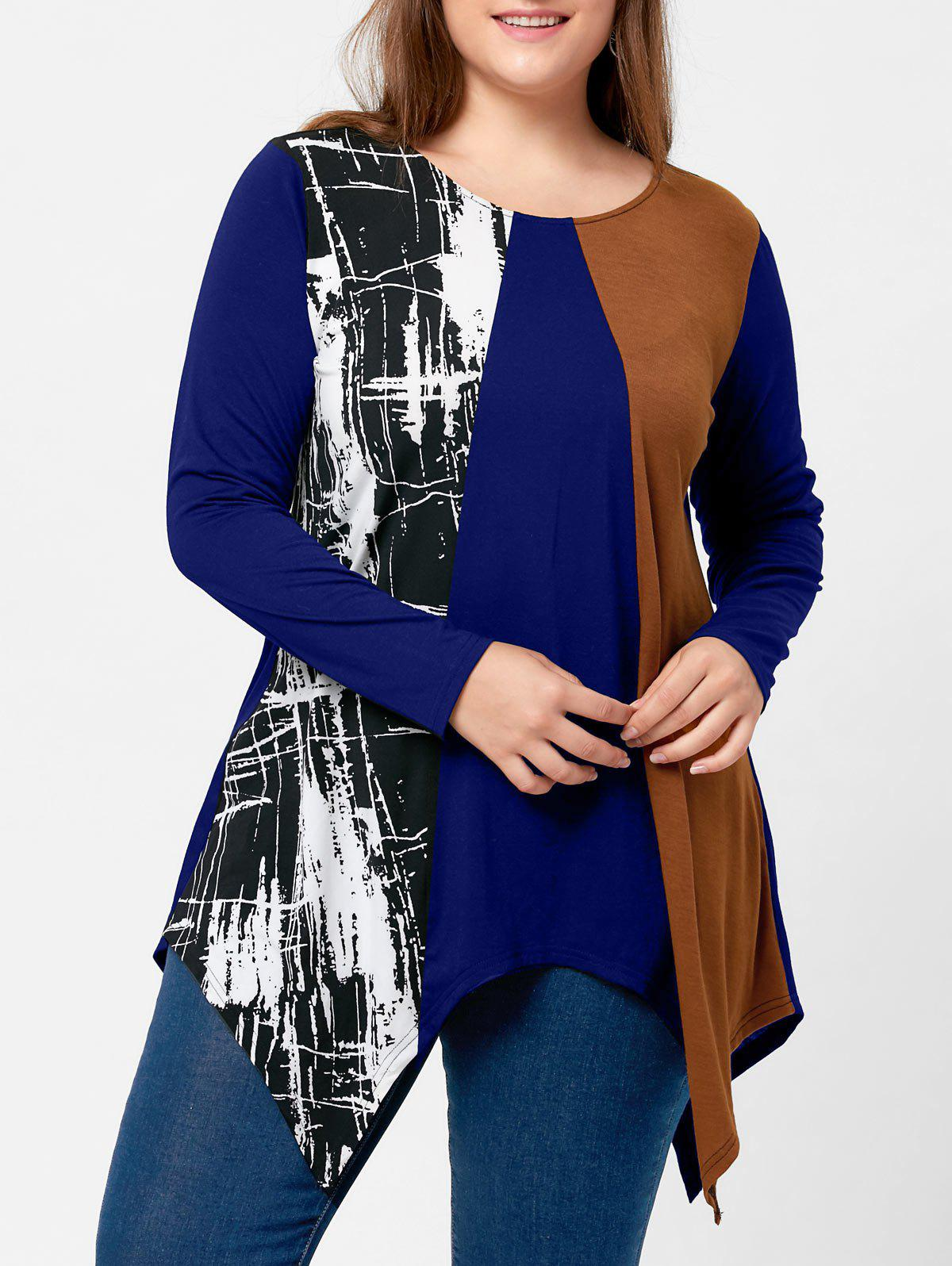 Plus Size Long Sleeve Handkerchief TeeWOMEN<br><br>Size: 4XL; Color: BLUE; Material: Polyester,Spandex; Shirt Length: Long; Sleeve Length: Full; Collar: Round Neck; Style: Casual; Season: Fall,Spring; Pattern Type: Others; Weight: 0.3100kg; Package Contents: 1 x Top;