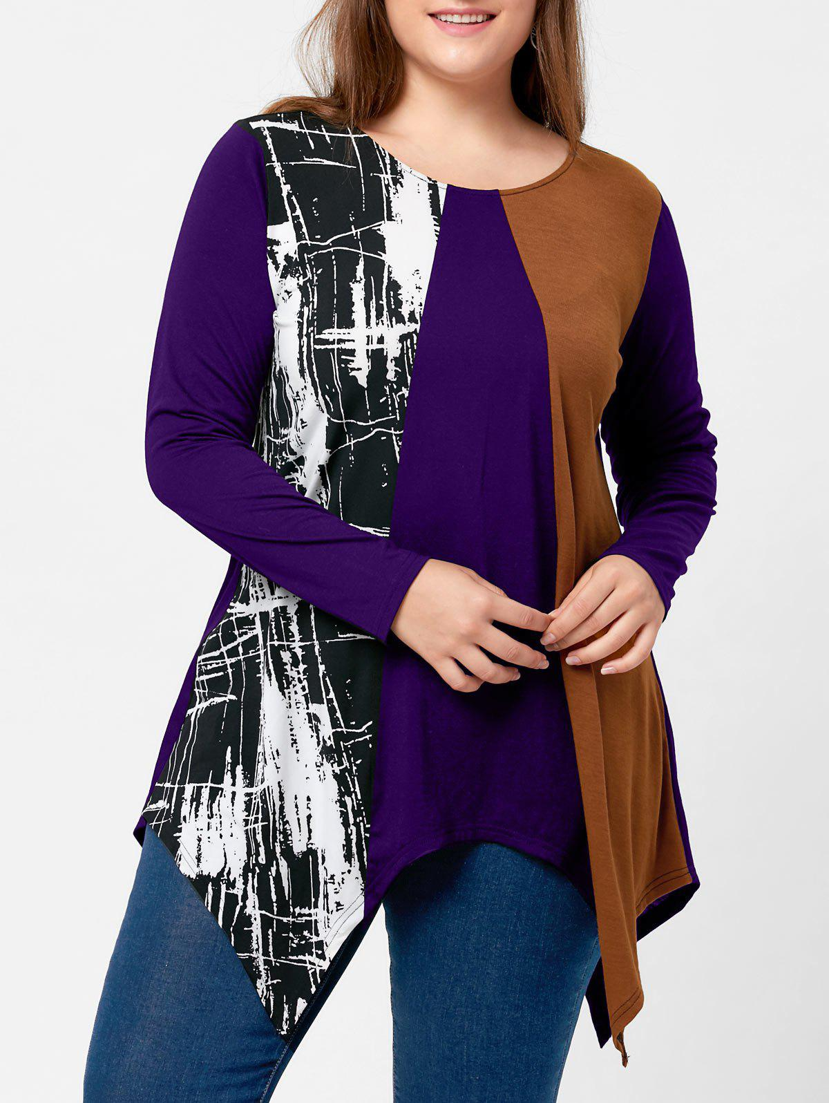 Plus Size Long Sleeve Handkerchief TeeWOMEN<br><br>Size: 3XL; Color: PURPLE; Material: Polyester,Spandex; Shirt Length: Long; Sleeve Length: Full; Collar: Round Neck; Style: Casual; Season: Fall,Spring; Pattern Type: Others; Weight: 0.3100kg; Package Contents: 1 x Top;