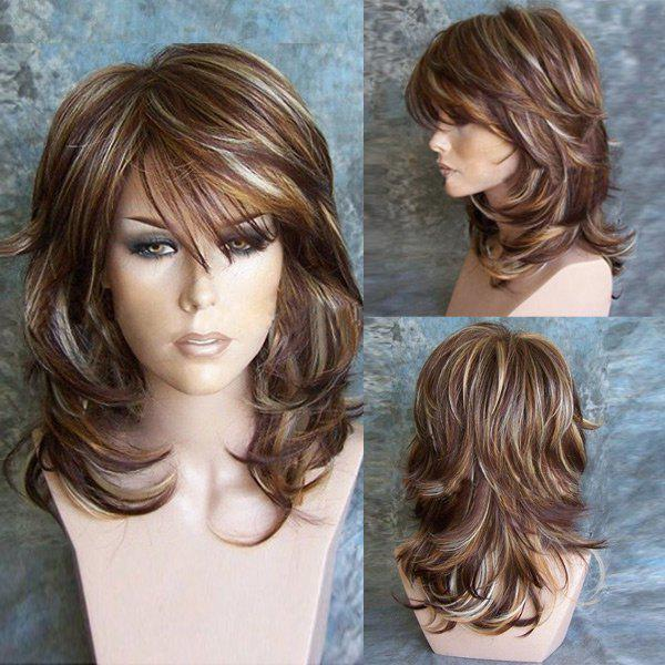 Medium Inclined Bang Highlighted Layered Slightly Curled Synthetic WigHAIR<br><br>Color: COLORMIX; Type: Full Wigs; Cap Construction: Capless; Style: Straight; Material: Synthetic Hair; Bang Type: Side; Length: Medium; Length Size(CM): 45; Weight: 0.1950kg; Package Contents: 1 x Wig;