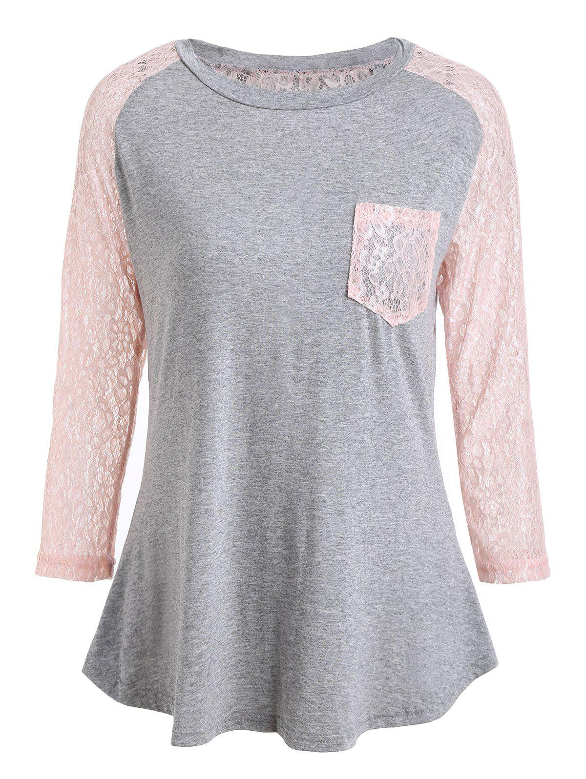Sale Lace Panel Raglan Sleeve T-shirt with Pocket
