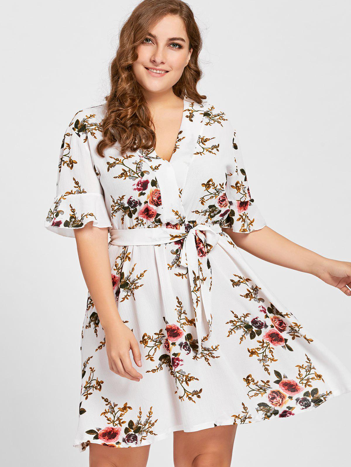 Floral Plus Size Belted DressWOMEN<br><br>Size: XL; Color: WHITE; Style: Casual; Material: Polyester; Silhouette: A-Line; Dresses Length: Mini; Neckline: V-Neck; Sleeve Length: Half Sleeves; Pattern Type: Floral; With Belt: Yes; Season: Fall; Weight: 0.2700kg; Package Contents: 1 x Dress  1 x Belt;