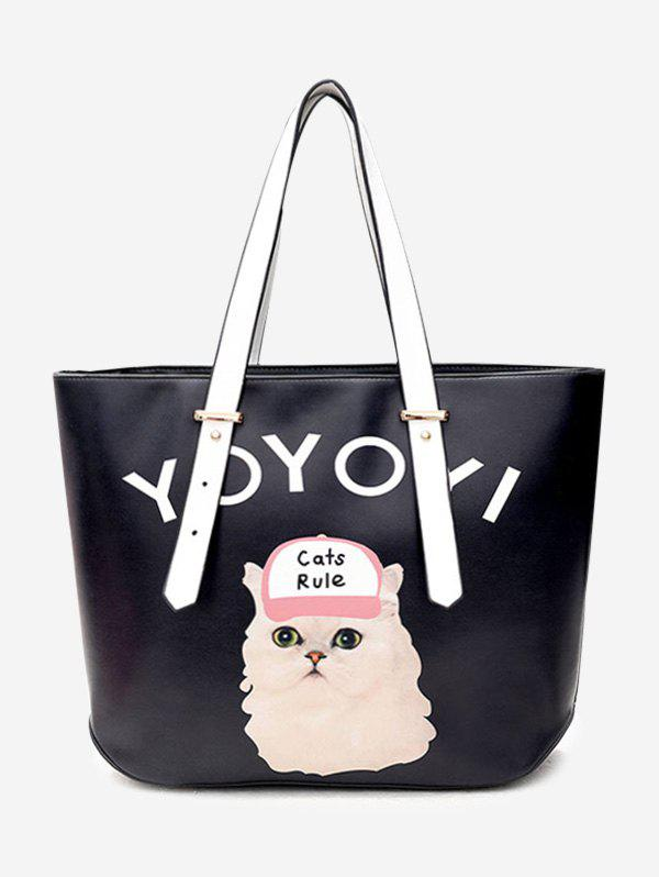 Print Letter Cat Shoulder Bag