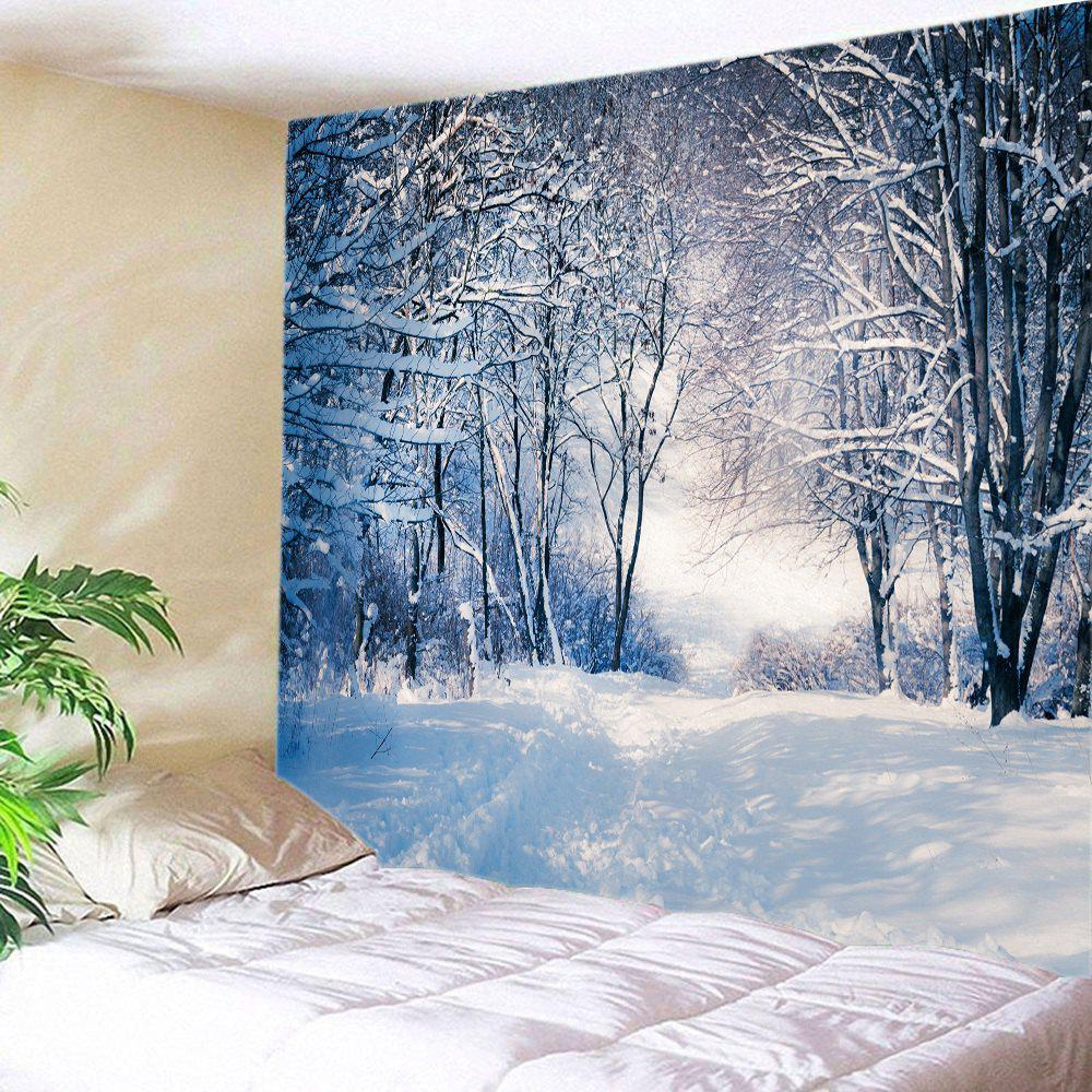 Forest Snow Path Print Tapestry Wall Hanging DecorationHOME<br><br>Size: W79 INCH * L71 INCH; Color: WHITE; Style: Natural; Theme: Landscape; Material: Polyester; Feature: Washable; Shape/Pattern: Forest,Snow; Weight: 0.4000kg; Package Contents: 1 x Tapestry;
