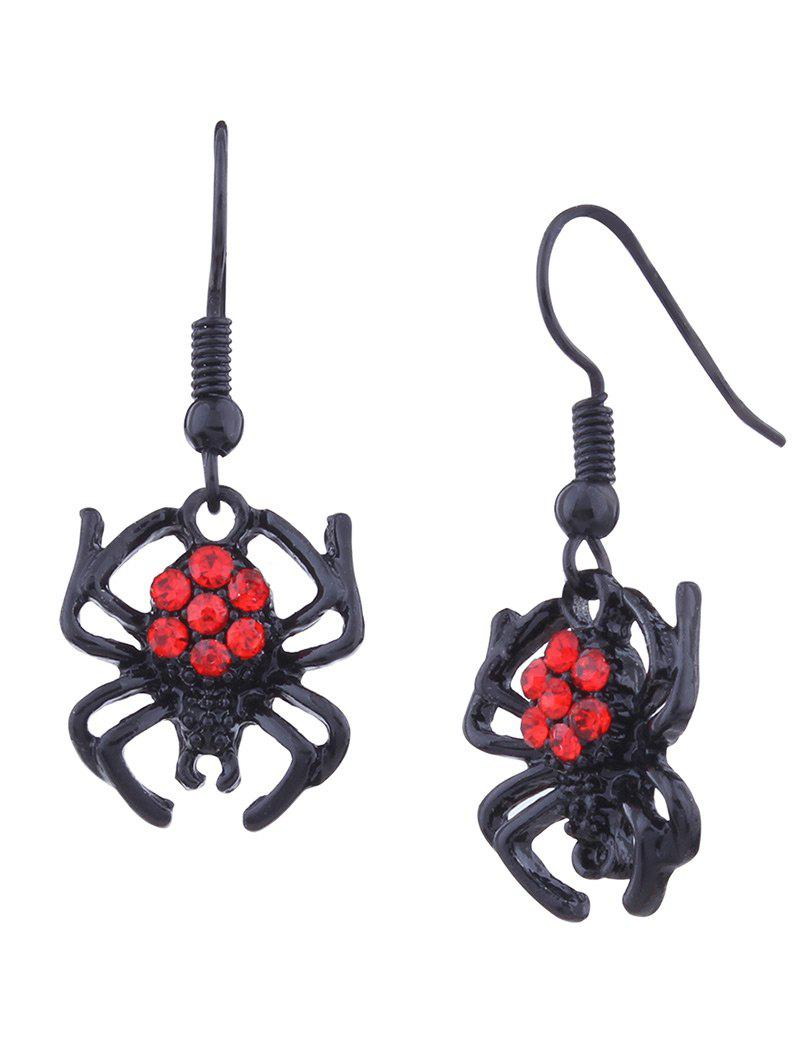 Rhinestone Spider Halloween Hook EarringsJEWELRY<br><br>Color: BLACK; Earring Type: Earring Jackets; Gender: For Women; Material: Rhinestone; Style: Trendy; Shape/Pattern: Animal; Length: 3.5CM; Weight: 0.0300kg; Package Contents: 1 x Earring (Pair);