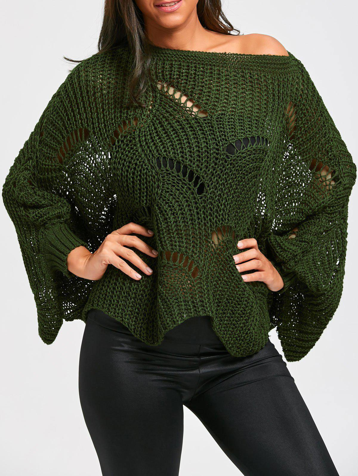 Oversized Batwing Sleeve Tunic Chunky SweaterWOMEN<br><br>Size: ONE SIZE; Color: ARMY GREEN; Type: Pullovers; Material: Cotton,Polyester; Sleeve Length: Full; Collar: Round Neck; Style: Casual; Pattern Type: Solid; Season: Fall,Spring; Weight: 0.3700kg; Package Contents: 1 x Sweater;