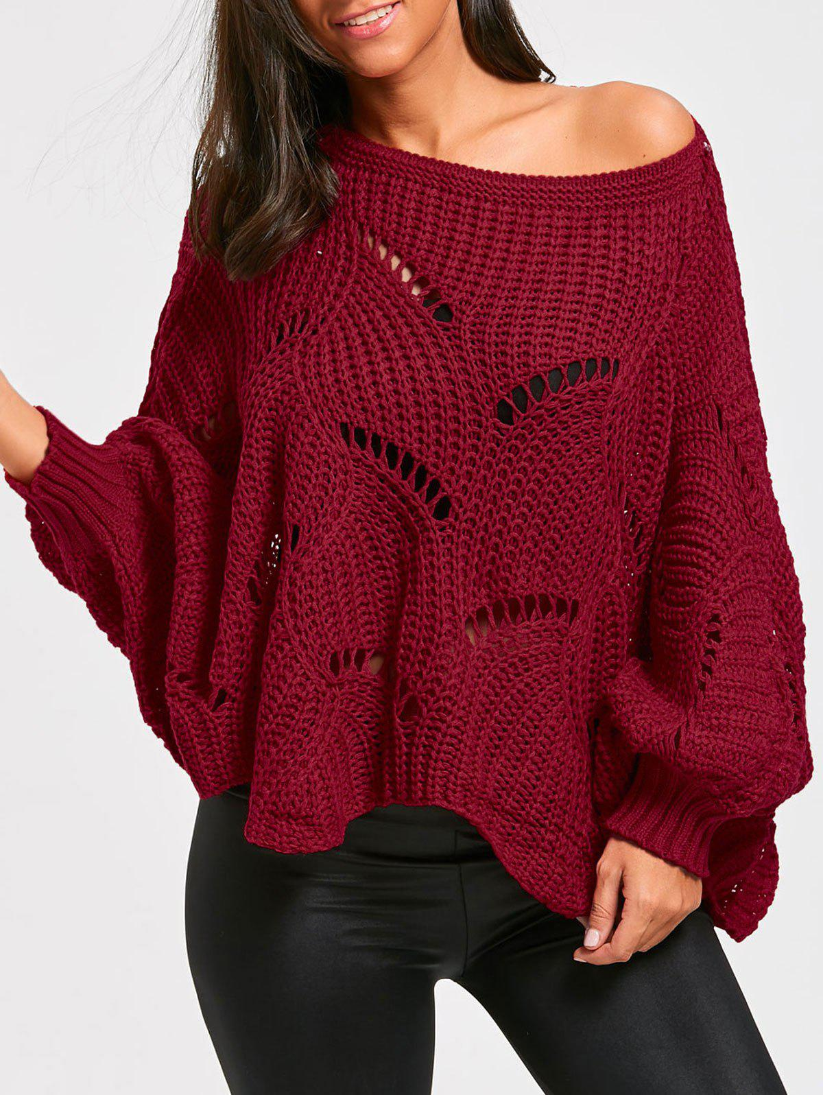 Oversized Batwing Sleeve Tunic Chunky SweaterWOMEN<br><br>Size: ONE SIZE; Color: WINE RED; Type: Pullovers; Material: Cotton,Polyester; Sleeve Length: Full; Collar: Round Neck; Style: Casual; Pattern Type: Solid; Season: Fall,Spring; Weight: 0.3700kg; Package Contents: 1 x Sweater;