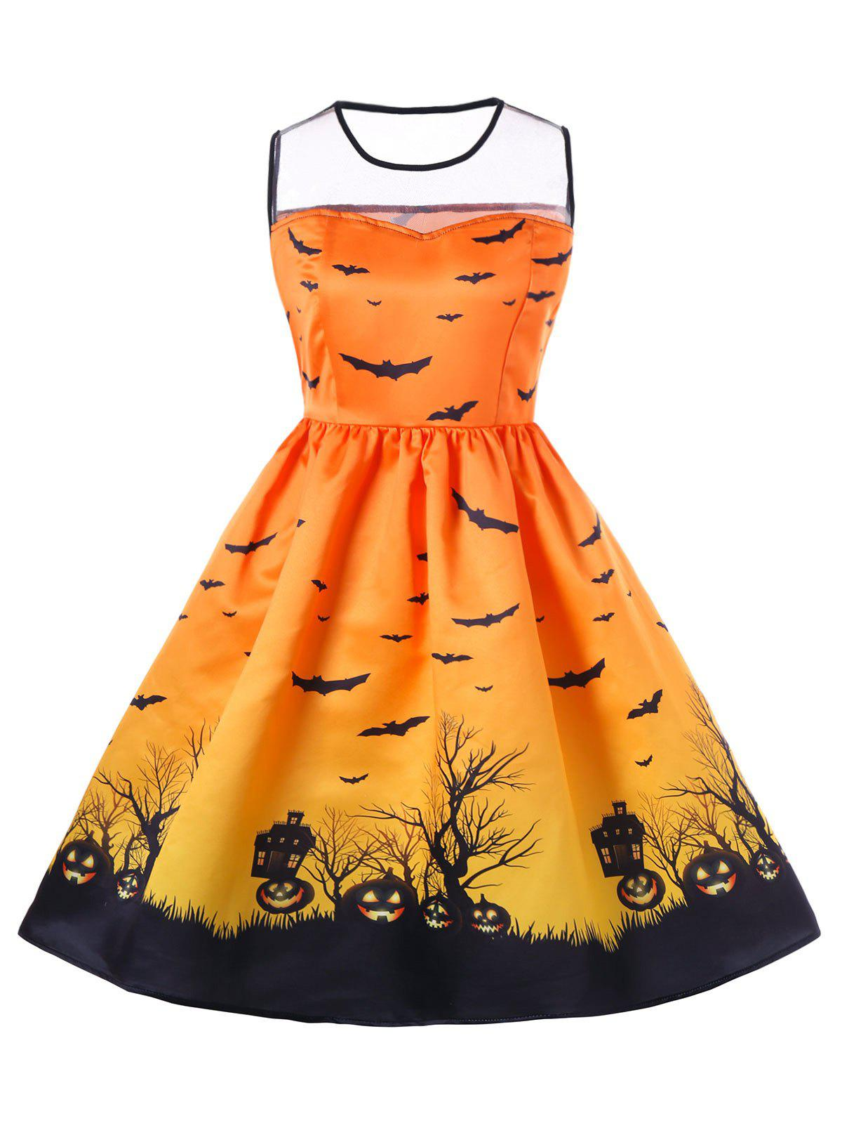 Hot Halloween Mesh Panel Plus Size A Line Skater Dress
