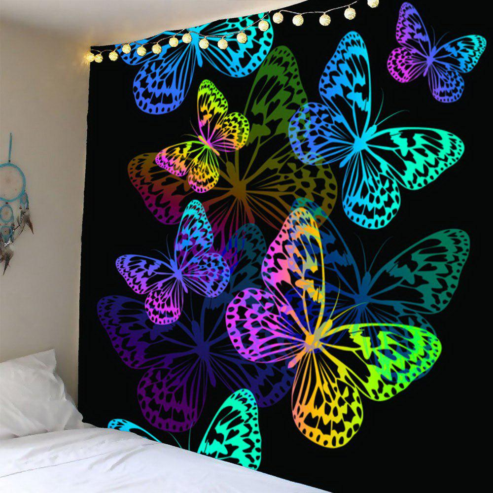 Waterproof Colorful Butterfly Pattern Wall Hanging TapestryHOME<br><br>Size: W79 INCH * L79 INCH; Color: COLORFUL; Style: Fashion; Theme: Butterfly Theme; Material: Velvet; Feature: Removable,Washable,Waterproof; Shape/Pattern: Butterfly; Weight: 0.4200kg; Package Contents: 1 x Tapestry;
