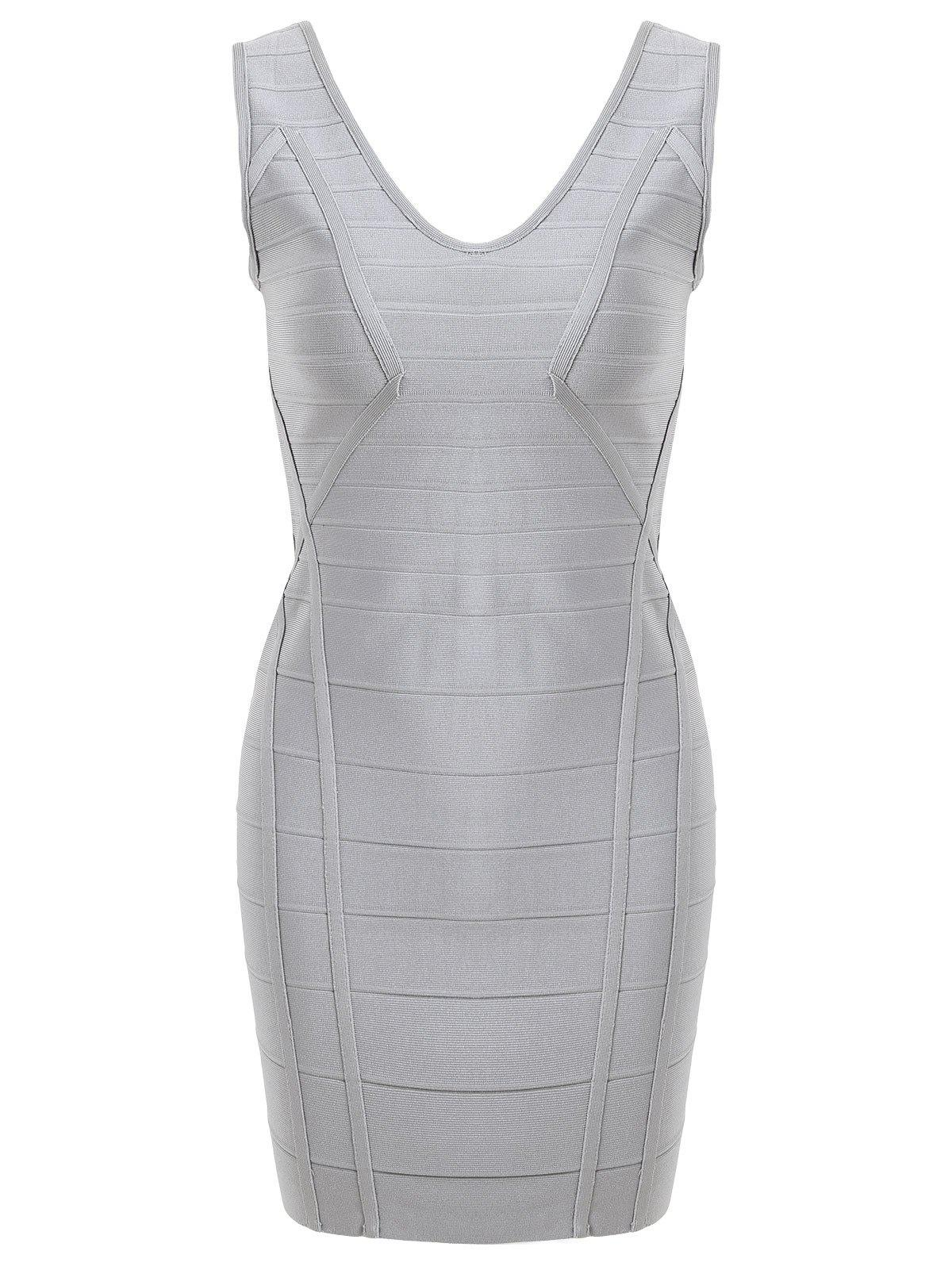 Latest V Neck Sleeveless Club Bandage Dress