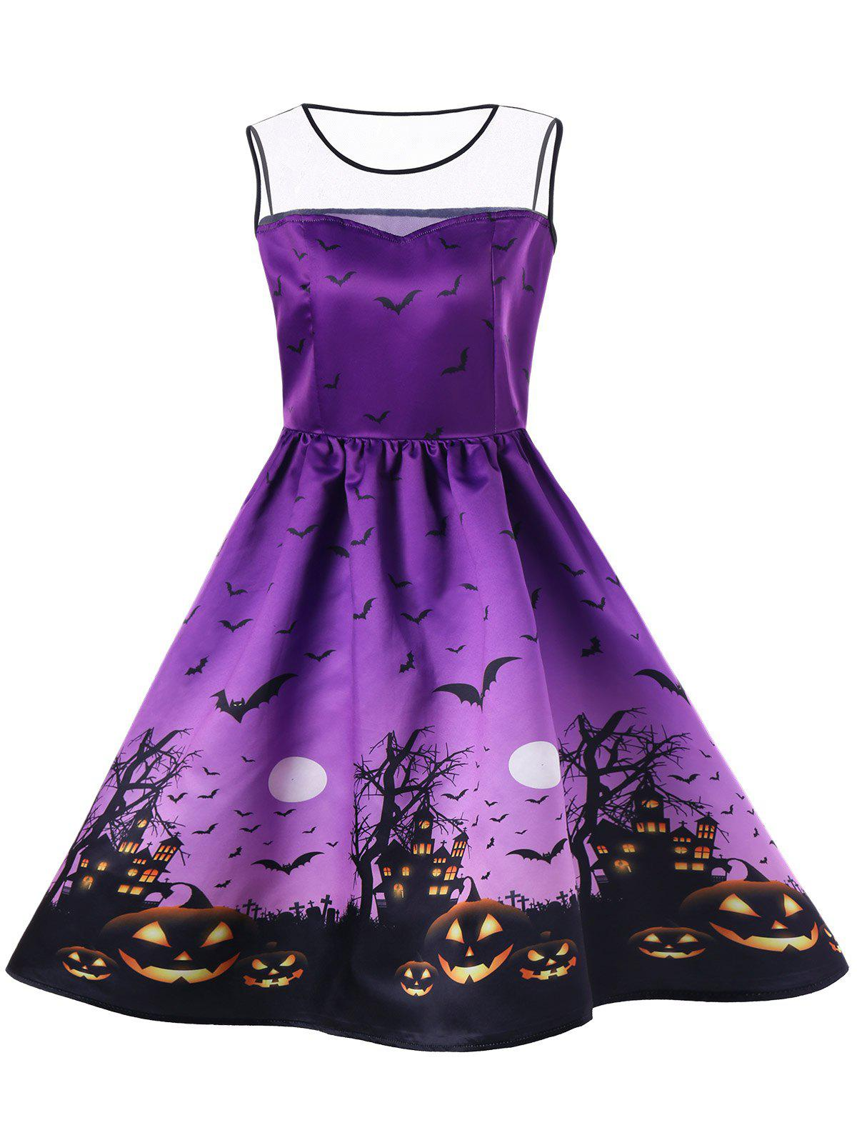 Online Halloween Mesh Insert Bat Pumpkin Plus Size Skater Dress