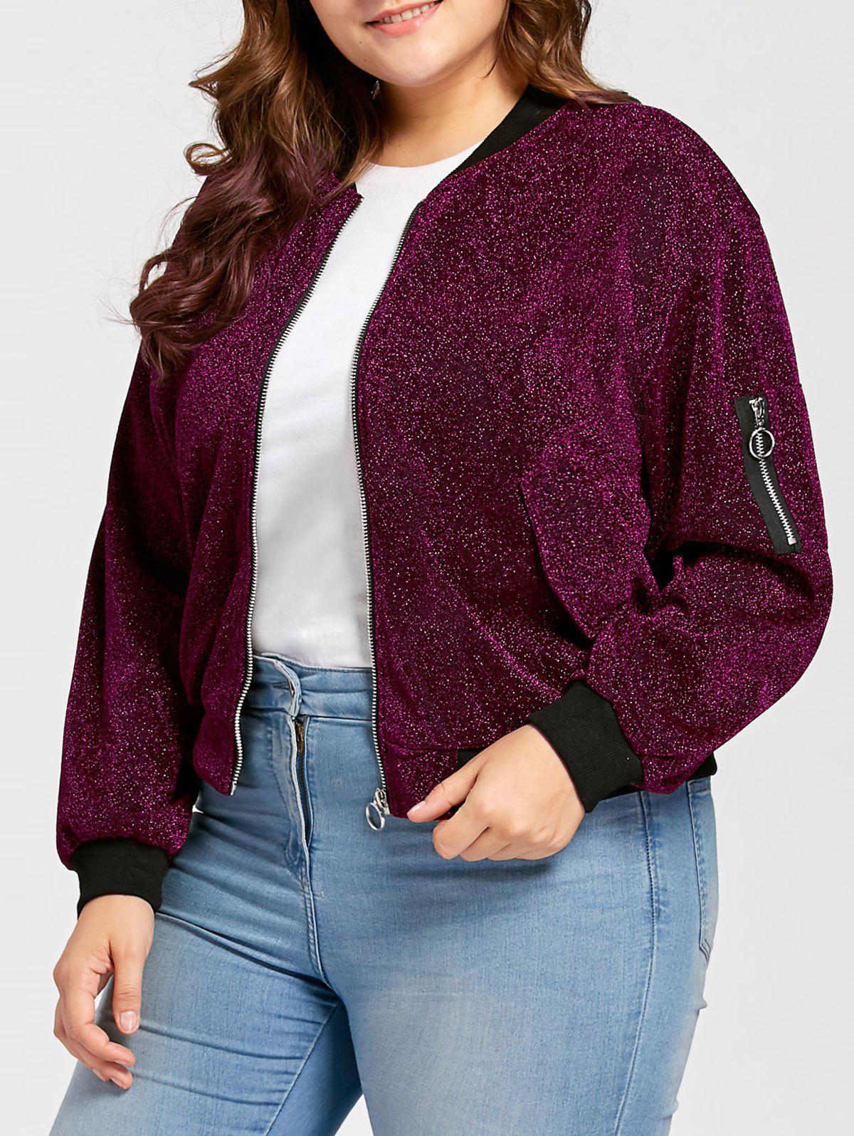 Best Plus Size Zip Up Sparkly  Bomber Jacket