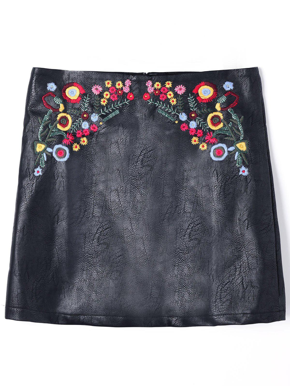 Cheap PU Leather Floral Embroidered Mini Skirt