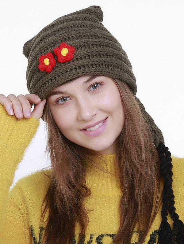Chic Small Flower Knit Christmas Hat with Long Tail