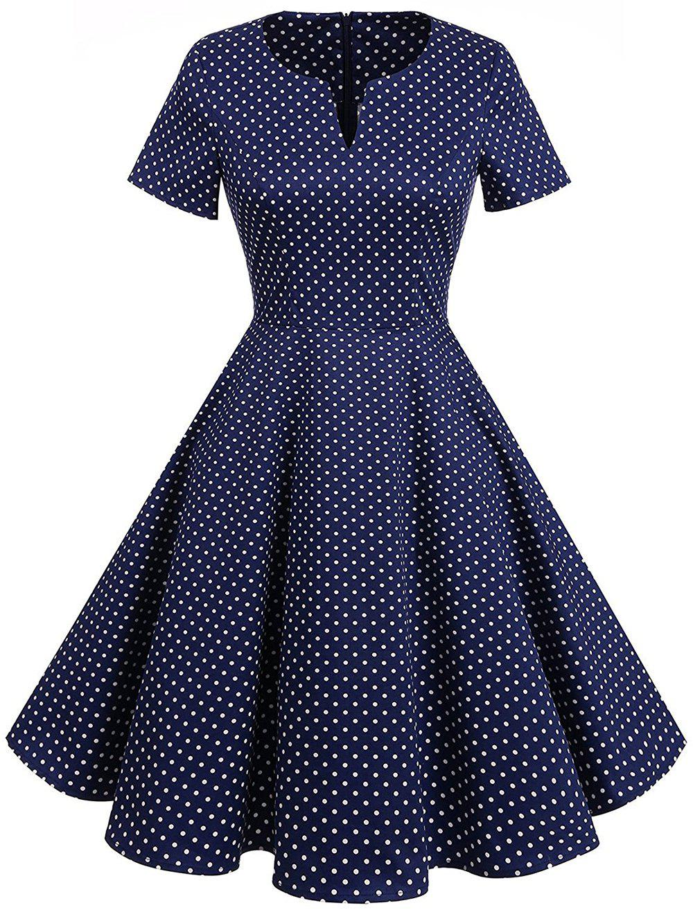 Vintage Fit and Flare Polka Dot DressWOMEN<br><br>Size: 2XL; Color: PURPLISH BLUE; Style: Vintage; Material: Cotton,Polyester; Silhouette: A-Line; Dresses Length: Knee-Length; Neckline: V-Neck; Sleeve Length: Short Sleeves; Pattern Type: Polka Dot; With Belt: No; Season: Fall,Spring,Summer; Weight: 0.3700kg; Package Contents: 1 x Dress;