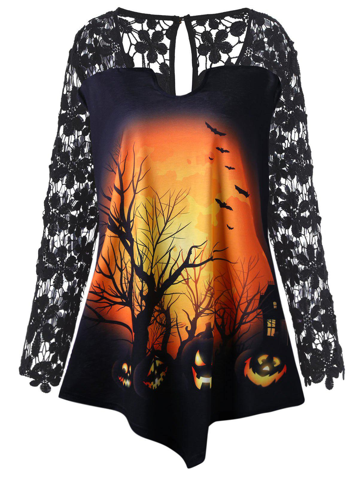 Latest Halloween Lace Insert Pumpkin Plus Size Tunic T-shirt