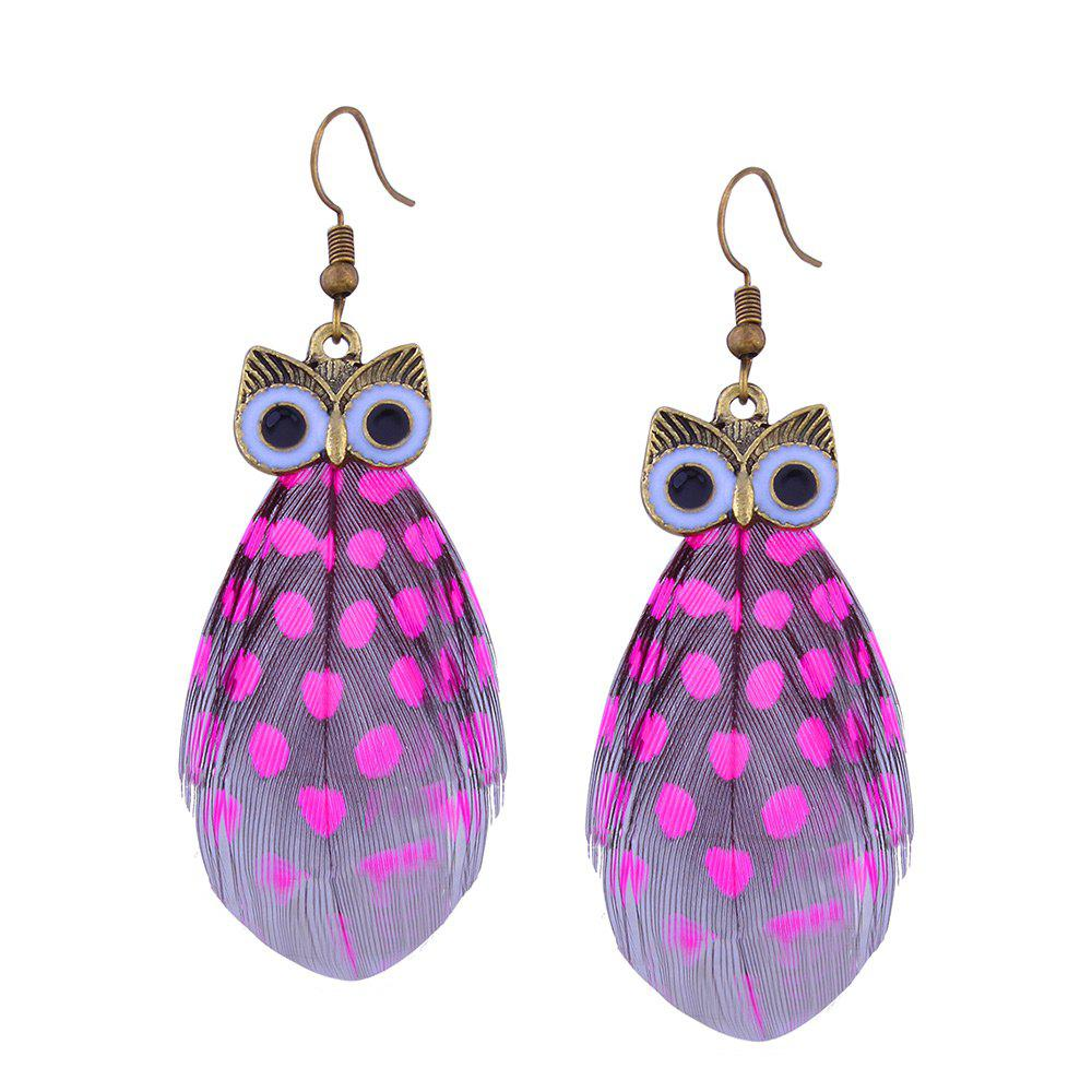 Rose red alloy feather owl fish hook earrings for Owl fish clothing